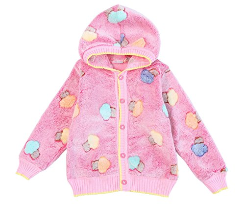 ZHUANNIAN Baby Girls Boys Cartoon Fleece Cardigan Hooded Jacket(12-18months, Bright Pink)