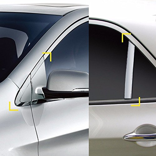 K-041 Chrome Silver Exterior Side A+C Pillar Cover Molding Guard Trim for Kia Picanto / Morning 2011+