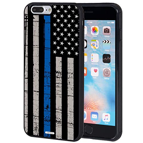 iPhone 7 Plus Case,iPhone 8 Plus Case,AIRWEE Slim Anti-Scratch Shockproof Silicone TPU Back Protective Cover Case for Apple iPhone 8 Plus/iPhone 7 Plus 5.5 Inch,Weathered Thin Blue Line Flag