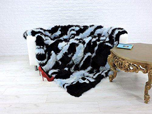 CuddlyDreams Luxury genuine fox fur throw, blanket, dyed black & light blue, 230cm x 200cm, -