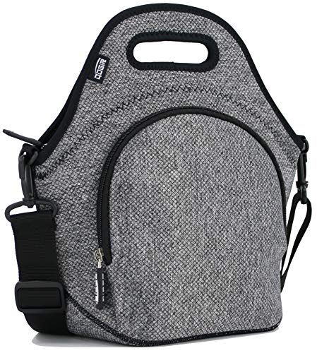 e923e61979 QOGiR Insulated Neoprene Lunch Bag Tote with Zipper Pocket   Strap for  Women Men and Kids - Large 12
