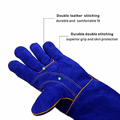 KIM YUAN Extreme Heat/Fire Resistant Gloves Leather with Kevlar Stitching, Mitts Perfect for Welding/Oven/Grill/BBQ/Mig/Fireplace/Stove/Pot Holder/Tig Welder/Animal Handling, (14in-blue)