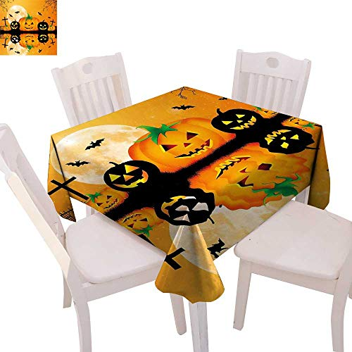 cobeDecor Halloween Printed Tablecloth Spooky Carved Halloween Jack o Lantern and Full Moon with Bats and Grave Lake Flannel Tablecloth 70
