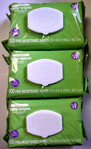Berkley Jensen Green Tea & Cucumber Scented Baby Wipes, 100 Count Pre-Moistened Wipe Soft Pack (Pack of 3)