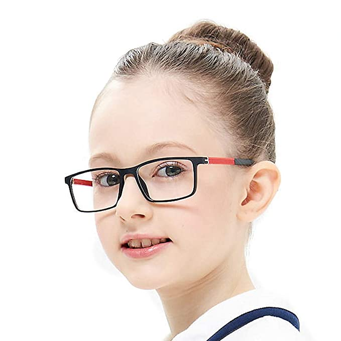 5a84c3534e74 Kids Teens Children Glasses Frame Flexible Cute Black and Red Eyewear Frame  with Clear Square Lens