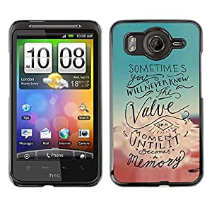 For HTC Desire HD / G10 / inspire 4GCase , Moment Motivational Quote Text - Diseño Patrón Teléfono Caso Cubierta Case Bumper Duro Protección Case Cover Funda