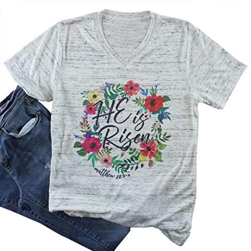 Top Easter Shirt - He is Risen Christian Easter Shirt Top Women V Neck Short Sleeve Casual Graphic Print Tee T Shirt Size M (Gray)
