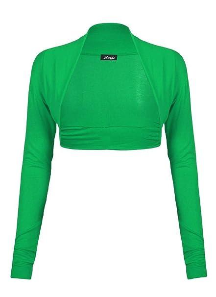 Divadames Women Ladies Long Sleeve Plain Bolero Shrug Cropped Viscose Jersey Top Damenmode Pullover & Strick