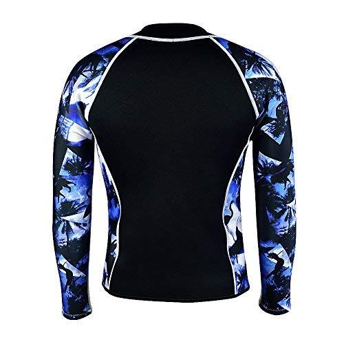 LayaTone Wetsuit Top Men Women 3mm Neoprene Jacket Adults Surfing Scuba Diving Suit Top Wetsuits Jacket Women Men Rash Guard Long Sleeves Front Zipper Wet Suits Top (Blue-Neoprene Sleeve,2XL)