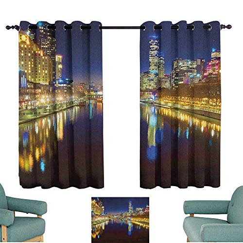 Sanring City,Kids Decor Curtain Looking Down The Yarra River on a Beautiful Night in Melbourne Water Reflection 52