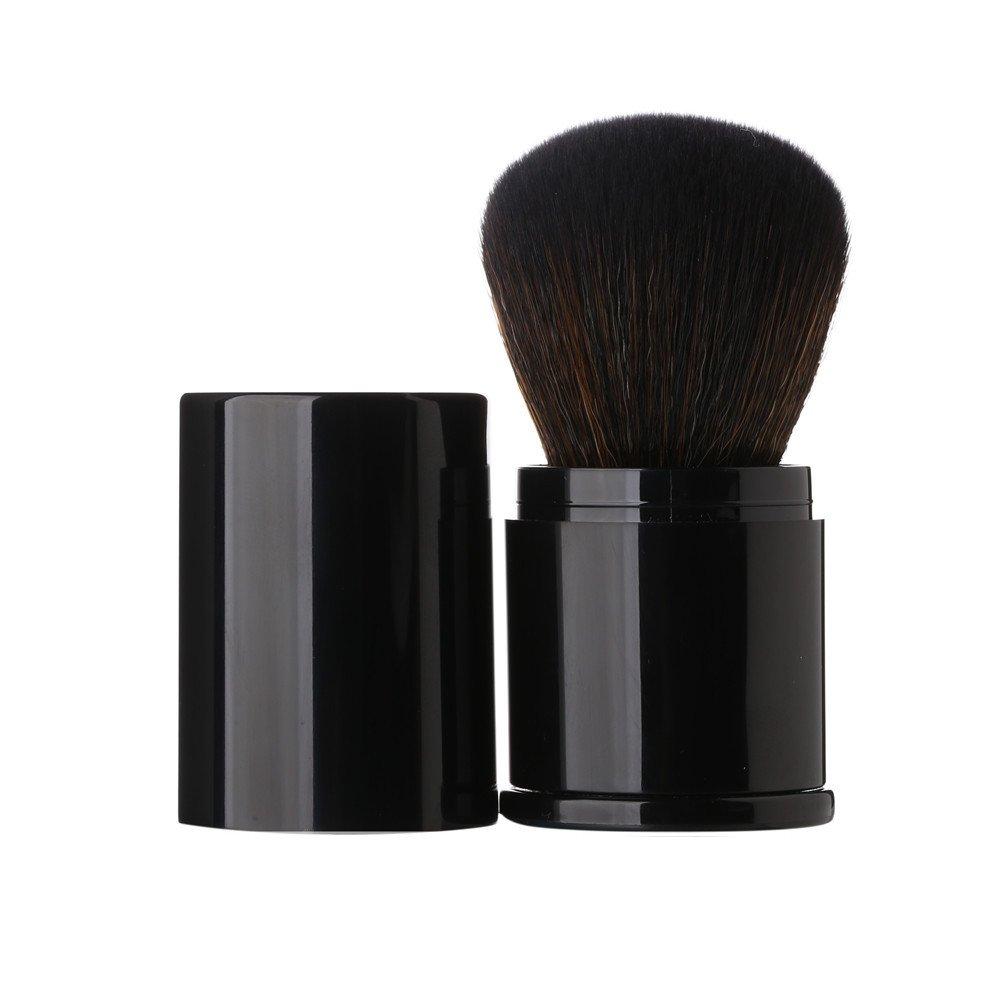 Premium Retractable Kabuki Makeup Brush - Aguder Blush Brushes Great for Blending Liquid, Cream, Mineral Cosmetics or Translucent Powder, Black