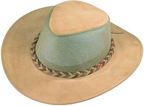 Henschel Men's Explorer Crushable Cowhide Suede Leather UPF 50 Mesh Breezer Hat, Tan, Large
