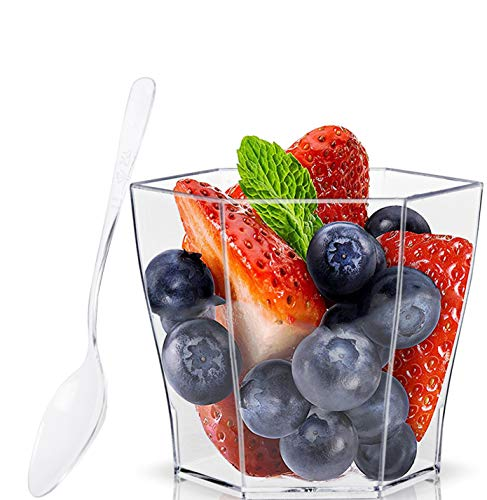 Lawei 100 pack 2 oz Plastic Dessert Cups with 100 Plastic Spoons - Hexagonal Mini Bowl Disposable Bowls for Chocolate Desserts, Appetizers, Dessert Samplers, Dessert Shot Glasses & More