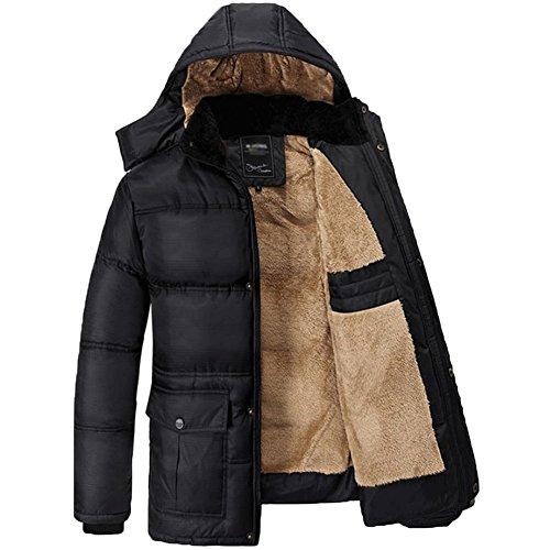JIONS Men's Hooded Down Puffer Jacket Winter Fur Coat Lightweight Packable Thicken Cotton Padded Warm Outwear Black XL