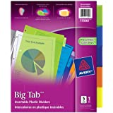 """Avery Big Tab Insertable Plastic Dividers for Laser and Inkjet Printers,  9-1/4"""" x 11-1/8"""", 5 tabs, Multi-colour, 1 Set, (11900)"""