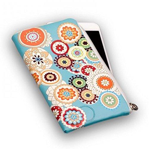 Elegante chiusura lampo Custodia/Borsa Borsello Softcase Flower adatto per Black Berry Keyone Custodia Slim Case Cover Custodia Cover