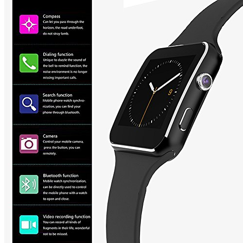 ASOON Smart Watch, Touch Screen Bluetooth Smart Wrist Watch with SIM Card Slot for Samsung LG Galaxy Note Sony Nexus Android Phones (X6) by ASOON (Image #1)