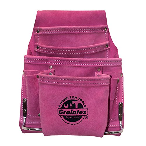 Graintex SS1186 Pink Leather 10 Pocket Tool Pouch by Graintex
