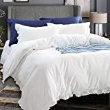 NTBAY 3 Pieces Duvet Cover, Classic Minimalist Chic Design, Grey (Ivory, King)