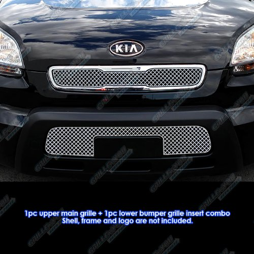 (APS Fits 2010-2011 Kia Soul Stainless Steel Mesh Grille Grill Insert Combo #N19-S3077XK)