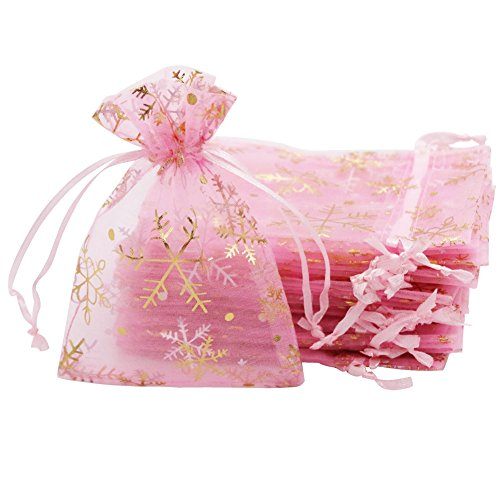 SumDirect 20Pcs 3.5x4.7inches Sheer Drawstring Organza Jewelry Pouches Wedding Party Christmas Favor Gift Bags, Pink with Gold Snowflake