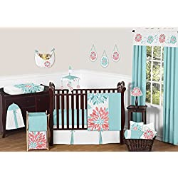 Sweet Jojo Designs Unique Turquoise Blue and Coral Emma Baby Girls 11 Piece Floral Modern Crib Bedding Set without bumper