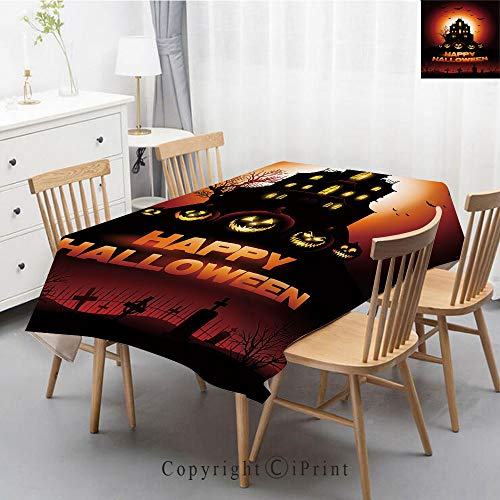 Print Series Rectangle Tablecloth Cotton and Linen Dust proof Absorption Table Cover for Photography Background Dining,40x60 Inch,Halloween,Happy Halloween Haunted House Flying Bats Scary Looking -