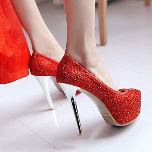 Fino Profunda 13cm De Cabeza Rojo tacón Poco Boca De Redonda Tacones Mujer Zapatos Lentejuelas Diamantes de Superior De Imitación Parte Zapatos PZZ6qw