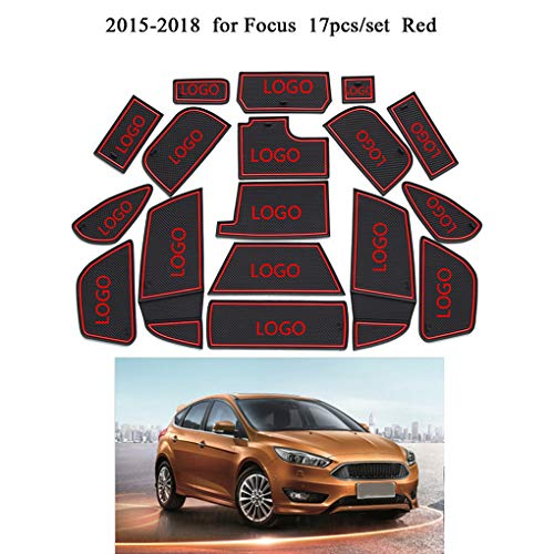 (17pcs Replacement for Ford Focus 2015-2018 Car Gate Slot Mat Anti-Slip Cup Cushion Interior Accessories xuanL)