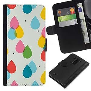 All Phone Most Case / Oferta Especial Cáscara Funda de cuero Monedero Cubierta de proteccion Caso / Wallet Case for LG G3 // Rain Pink Yellow Polka Dot Summer
