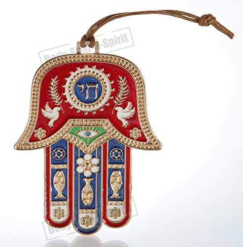 Gold Tone Hamsa hand Red Wall Hanging decor Lucky Charm CHAI Judaica Kabbalah evil eye - The Energy Of Hebrew Letters