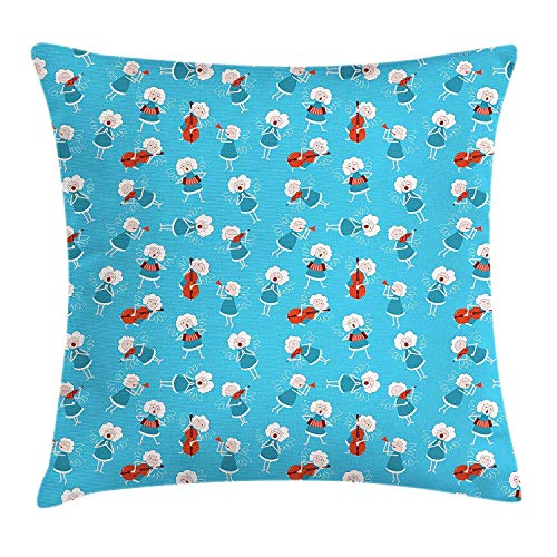 HFYZT Angel Throw Pillow Cushion Cover, Music Angels Playing Violin Flute Kazoo Saxophone Trumpet Elf Harp Cello Fantasy, Decorative Square Accent Pillow Case, 18 X 18 Inches, Blue Red White ()