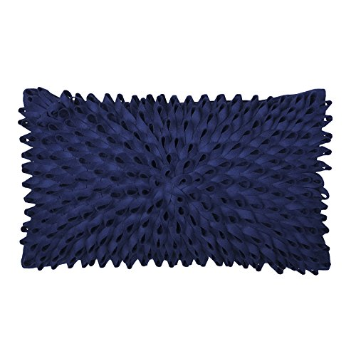 KingRose 3D Handmade Floral Decorative Accent Throw Pillow Covers Slip Solid Wool Artwork Cushion Sham 12 x 20 Inches Navy Blue -