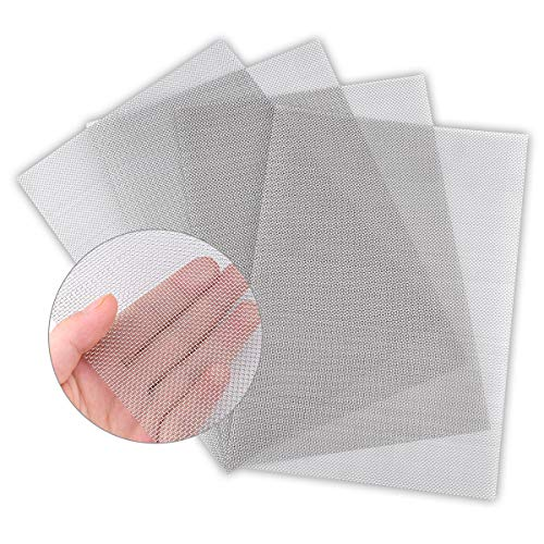 """4PACK Stainless Steel Woven Wire Mesh Never Rust, Air Vent Mesh 11.8""""X8.2""""(300X 210mm), Hard and Heat Resisting Screen Mesh, 1mm Hole 20 Mesh Easy to Cut by Valchoose"""