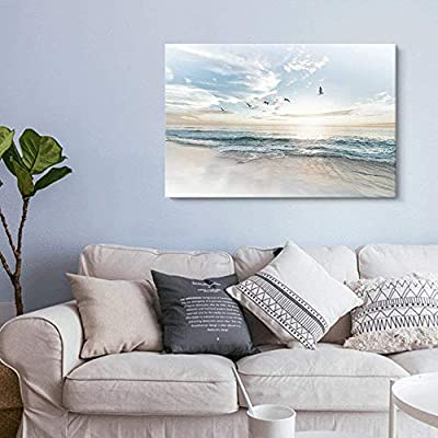 Canvas Wall Art - Watercolor Style Waves on The Beach with Sea Birds - Giclee Print Gallery Wrap Modern Home Art Ready to Hang - 12