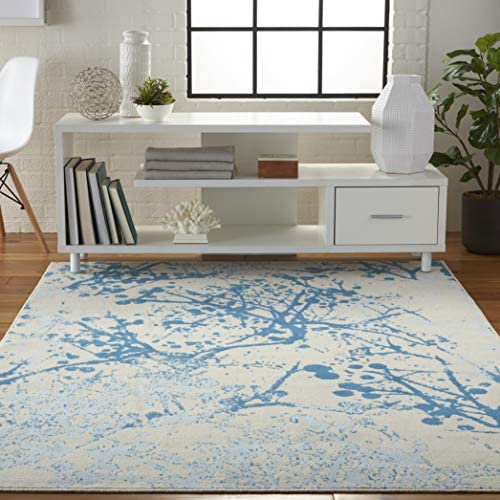 Nourison JUB12 Jubilant Abstract Ivory/Blue Area Rug 6' x 9'