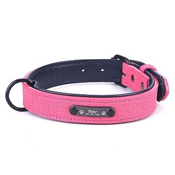 Rojo Grande peronalised collar de perro de alta calidad de cuero real cualquier nombre y color