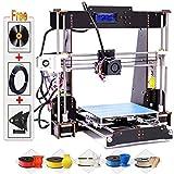 3D Printer Kit - 3D Printer, Trovole A8-W5 Pro DIY LCD Screen Desktop 3D Printer Kit with 1.75mm ABS/PLA Printer Filament(Build Size 220×220×240mm) (Wood 3D Printer)