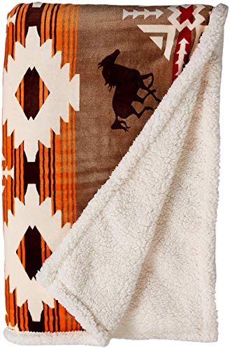 Carstens Soft Sherpa Plush Throw Blanket, Free Rein Colleciton