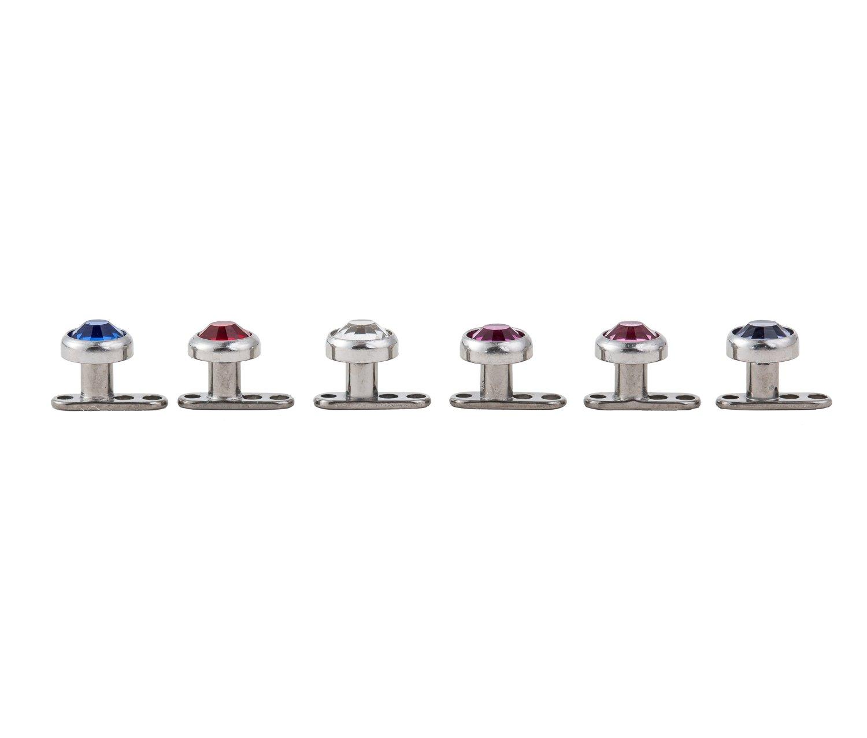 12 Gauges G23 Internally thread Titanium Dearmal Anchors Top Gems Body Piercing Jewelry (Pack 6pcs)