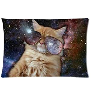 Cool Cat Outer Galaxy Space Custom Zippered Pillowcase Pillow Cases Cover 20 X 30 Inch (twin side) by supermalls