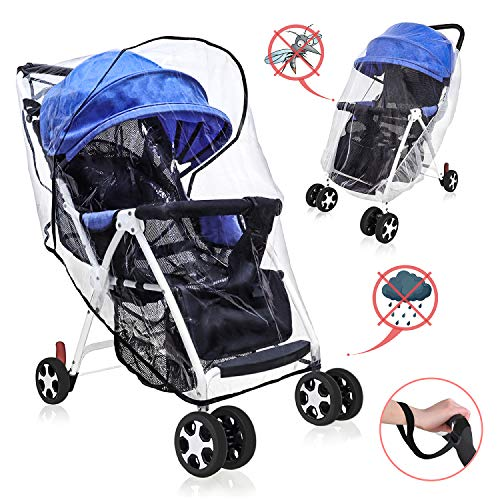 Stroller Rain Cover by GKCI Universal Standard Premium Weather Shield Set-Environmentally Material Total Protects Babies from Rain, Wind,Sun,Snow,etc Influences-Easy to Install and Remove