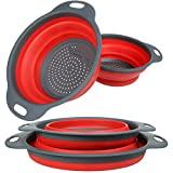 "Collapsible Colanders Set, 11.5"" and 9.7"" Size (2 Packs) YHXK Food-Grade Silicone kitchen Strainers Folding Space-Saver Draining Fruit Vegetable Baskets Dishwasher-Safe Filters, Red"