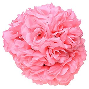 "SODIAL(R) 8""(20cm)Wedding Decorations Artificial Rose Silk Flower Ball Centerpieces Mint Decorative Hanging Flower Ball Wine(pink) 67"