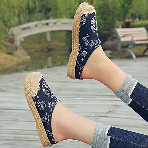 Lino Oxford Shoes Espadrilles Donna Loafers HUAN Flat A Canvas Bottom Pantofole da qOaUAB