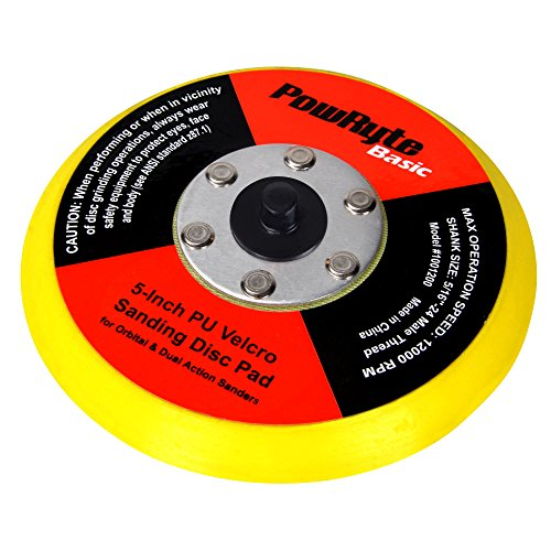 PowRyte 5-Inch PU Backing Pad for Sanding, Sponge and Woolen Polishing and Waxing Buffing, Hook and...