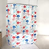 One Fish Two Fish Shower Curtain Splash Home Free of PVC Chlorine and Chemical Smell-Eco-Friendly-100% Waterproof, 72 X 70 inch Peva 4G Kissing Fish Curtain Liner Design for Bathroom Showers and Bathtubs, 70 x 72 Inch, Blue
