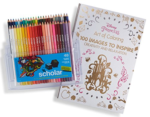 Prismacolor Scholar Colored Pencils, 48 Pack and Adult Coloring Book (Art of Coloring: Disney Princess) (Disney Art Desk Princess)
