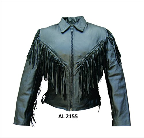 Ladies Cowhide Leather jacket with fringe, braid, side lace, and zipout liner (Lace Motorcycle Womens Jacket)