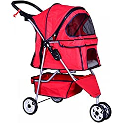 3 Wheels Pet Stroller Dog Travel Folding Carrier Rear Ventilation Easy Fold Red